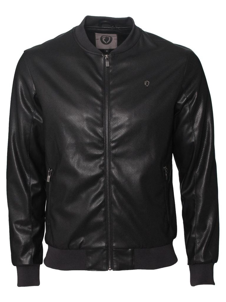 Mens Bomber PU Jacket With Zip Fastening Style Escape Black
