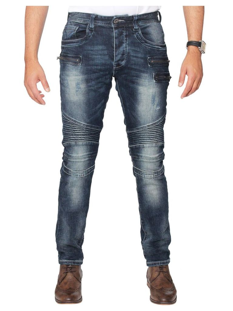 Mens  Biker Slim Fit  Mid Stonewash Stretch Denim Jeans