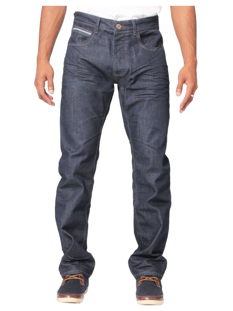 Mens Straight Fit Dark Wash Denim Jeans