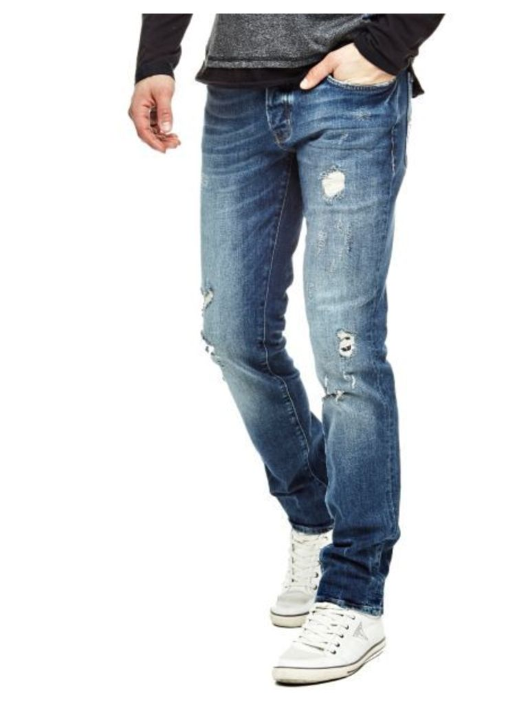 Guess Tapered Jeans With Abrasions