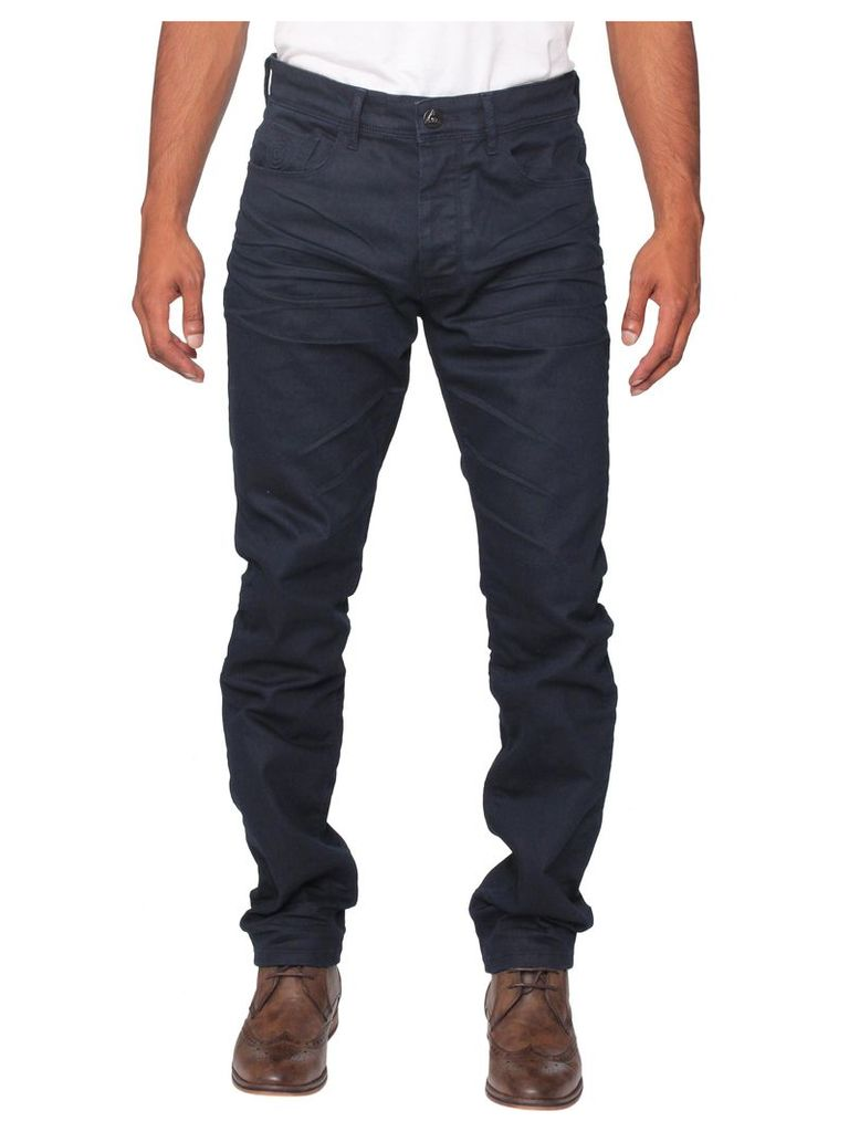 Mens Stretch Tapered Fit Navy Jeans