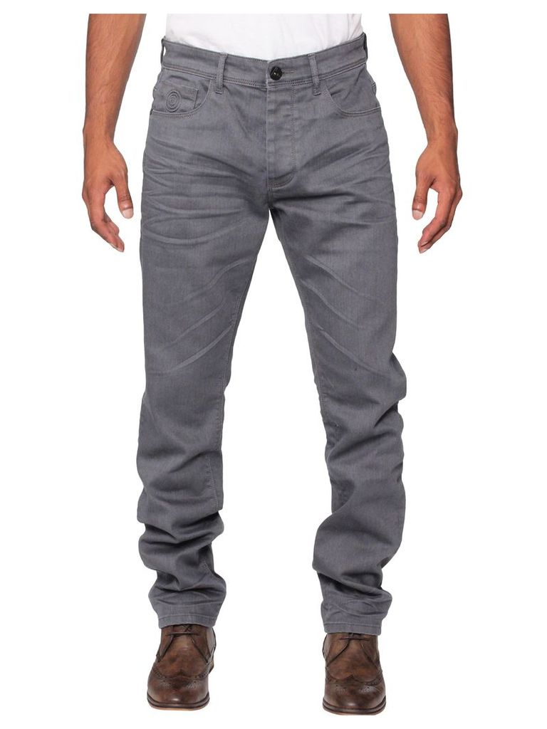 Mens Stretch Tapered Fit Grey Jeans