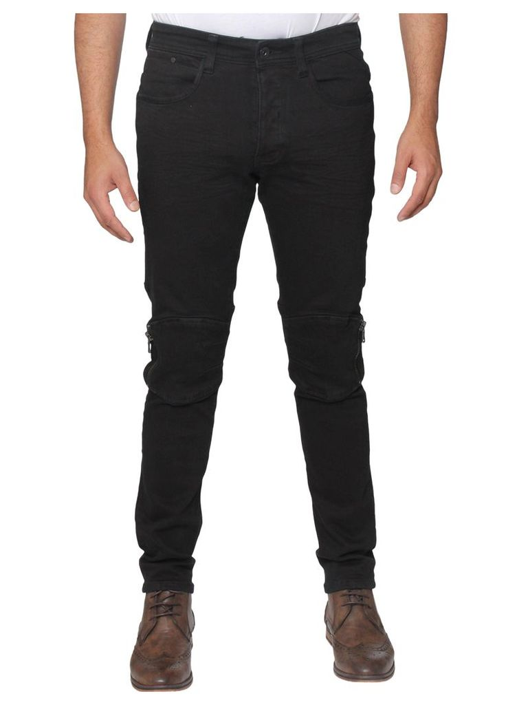 Mens  Black Zip Knee Super Slim Stretch Jeans