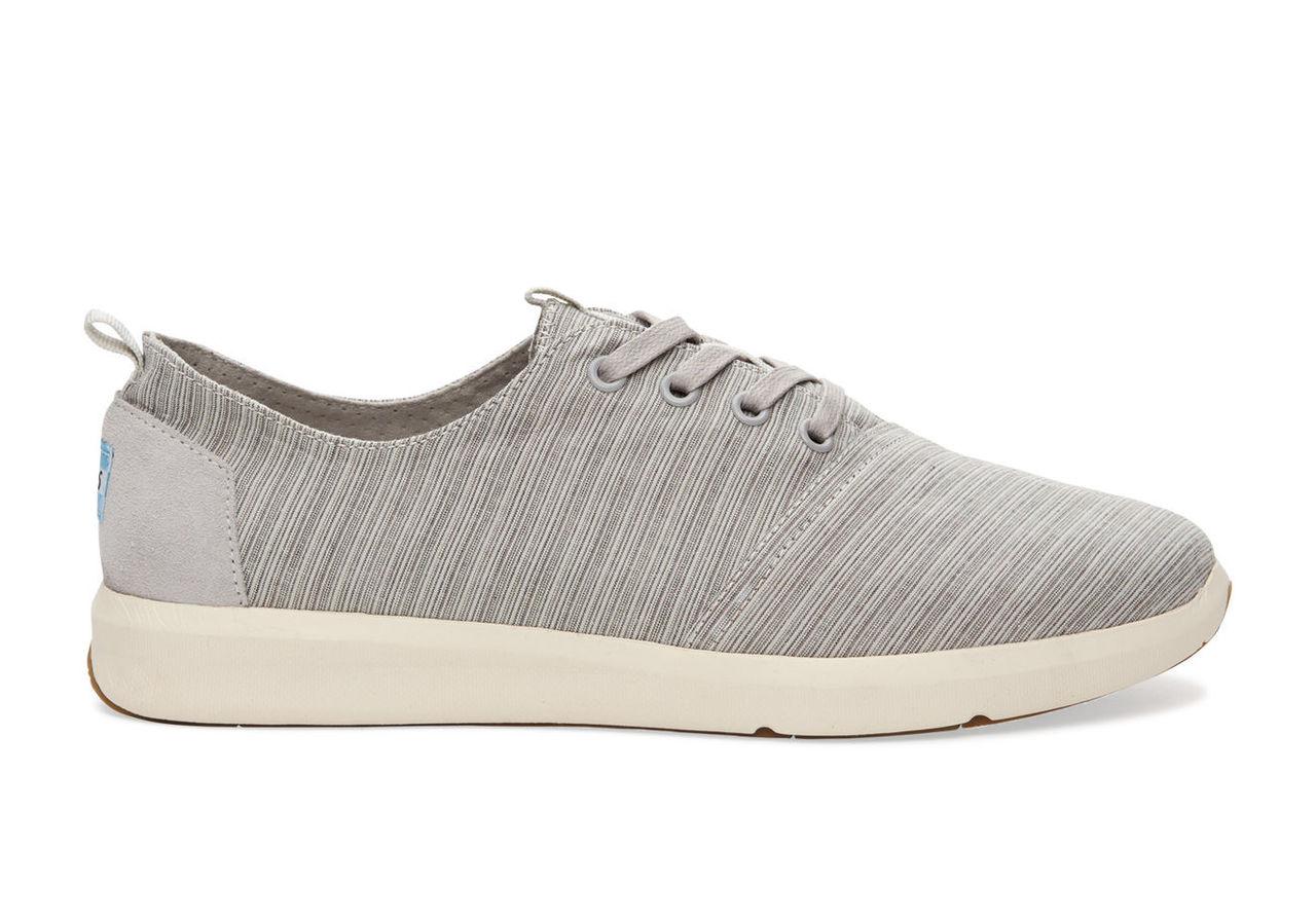 Vapor Grey Striped Linen Men's Del Rey Sneakers