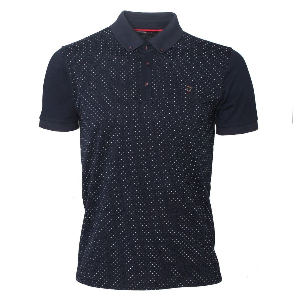 Fortune Mens Polka Dot Short Sleeved Navy Polo