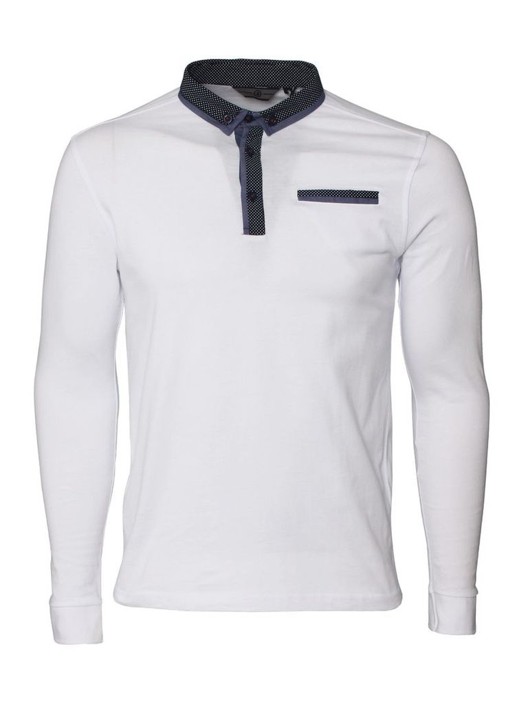 Knight Mens Long Sleeved White Polo