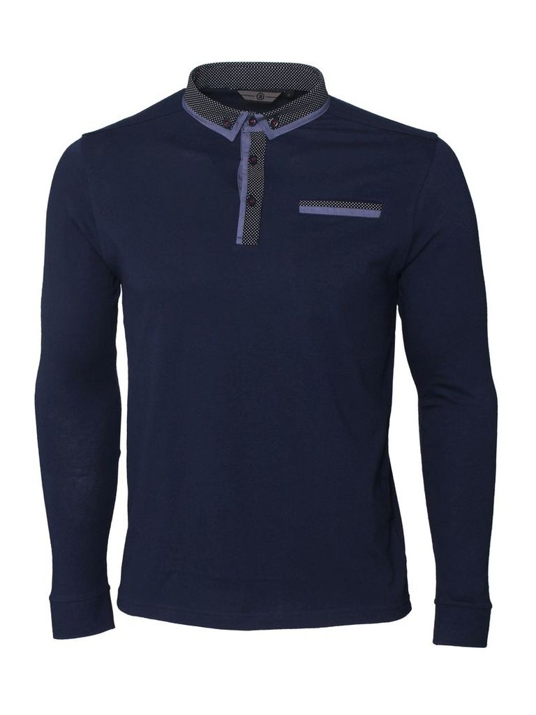 Knight Mens Long Sleeved Navy Polo