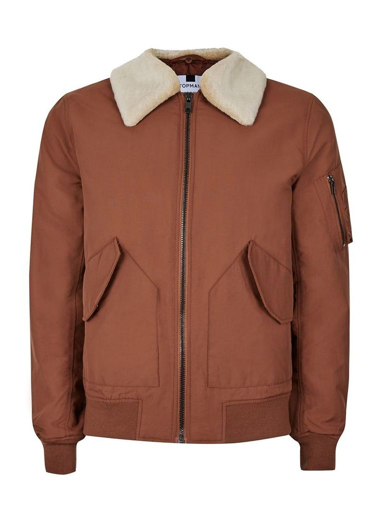 Men's Topman Rust Padded Flight Jacket, Red