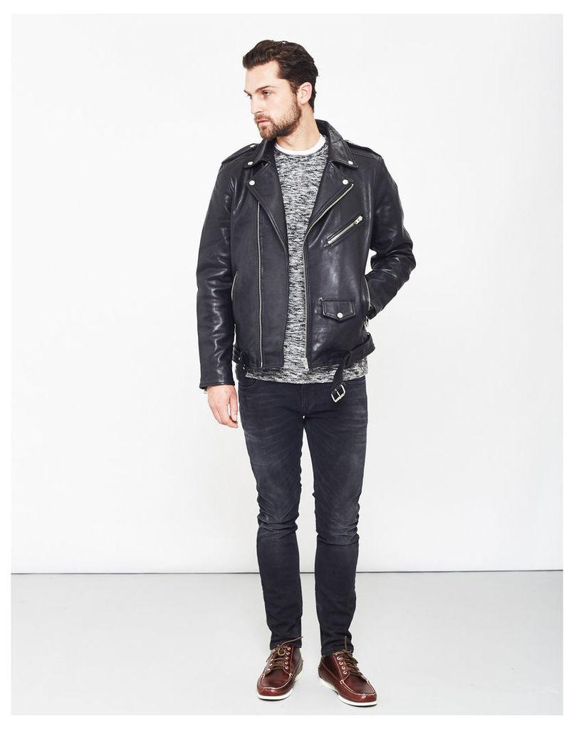 Selected Nico Leather Jacket Black