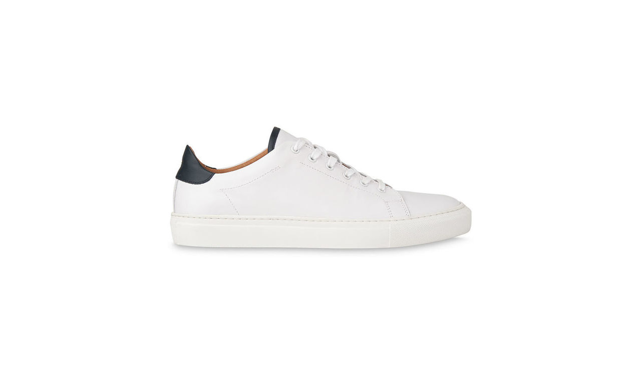 Contrast Trim Leather Trainers