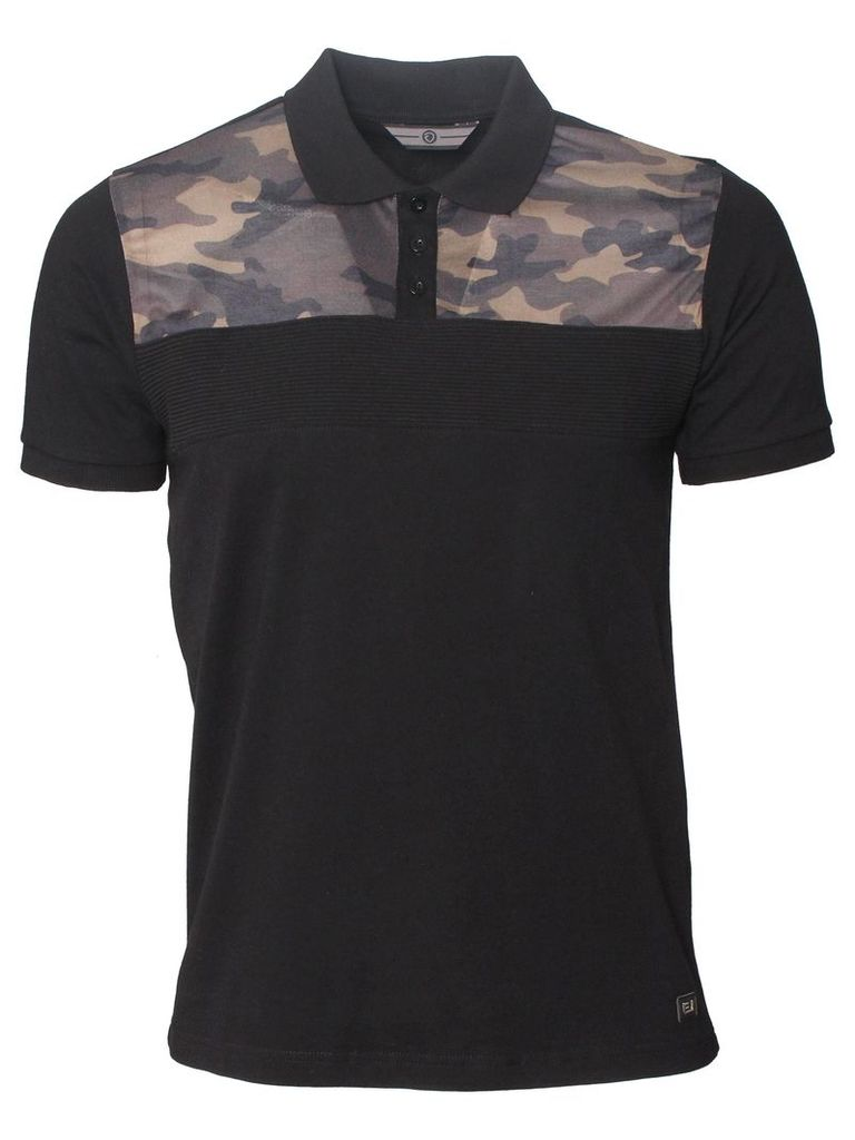 Reload Mens Camouflague Short Sleeved Black Polo