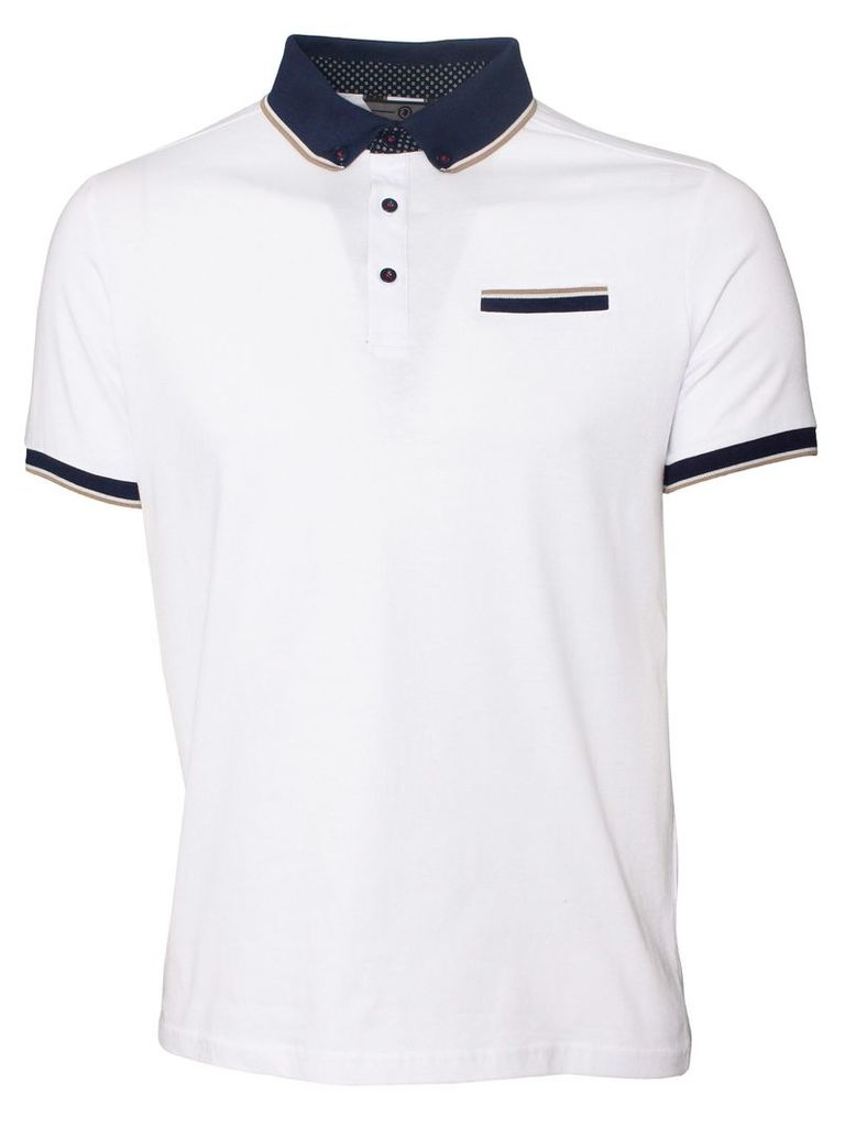 Connect Mens Short Sleeved White Polo