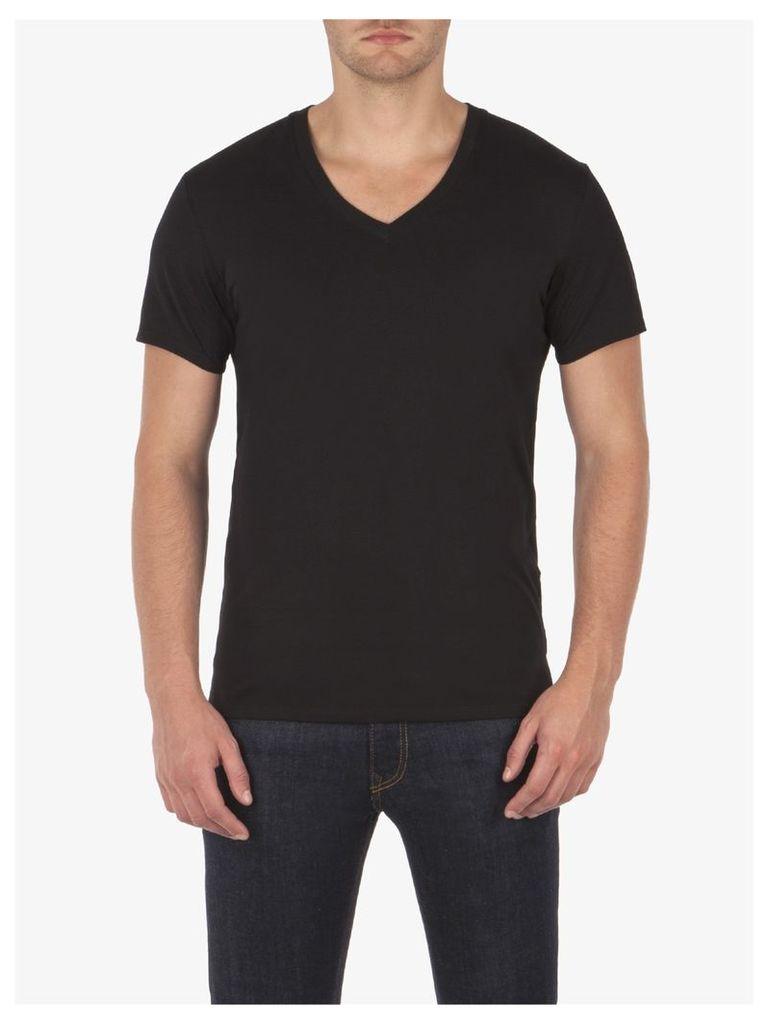 V Neck Short Sleeve T-Shirt Sml True Black