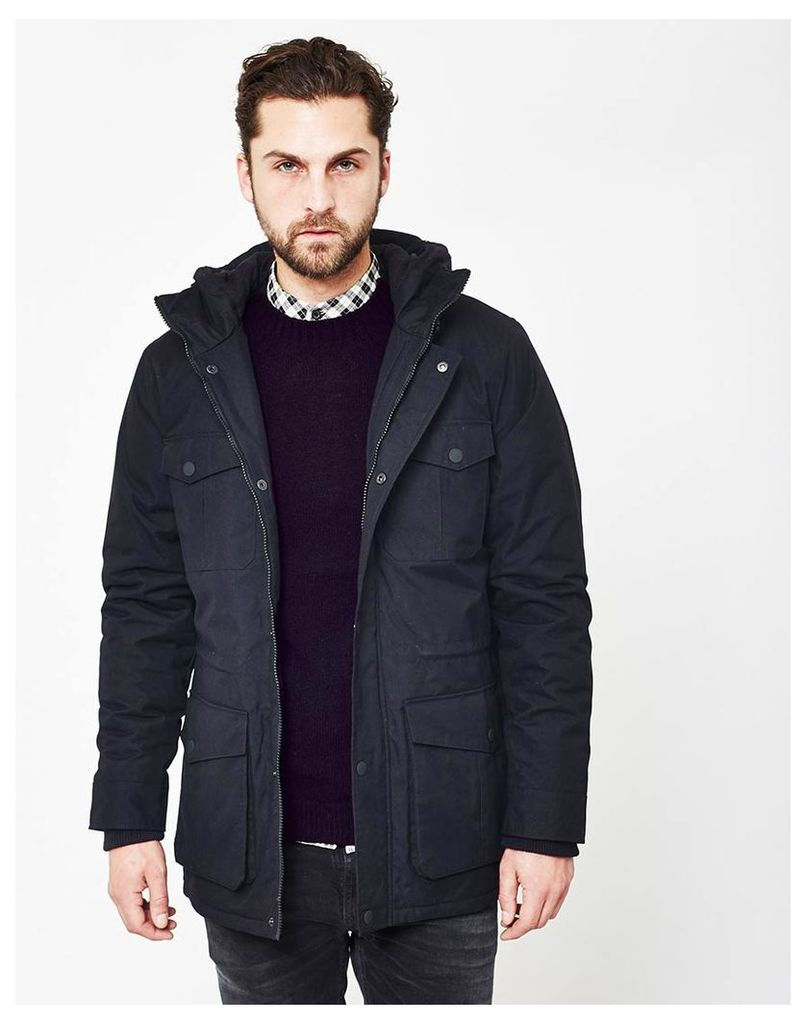 The Idle Man Lined Field Jacket with Hood Navy