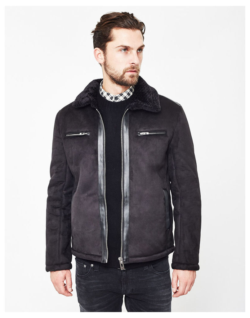 The Idle Man Faux Suede Sherpa Jacket Black