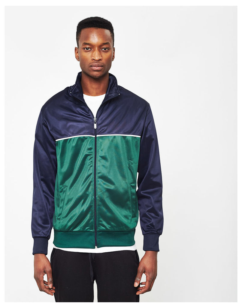 The Idle Man Track Top Navy & Green