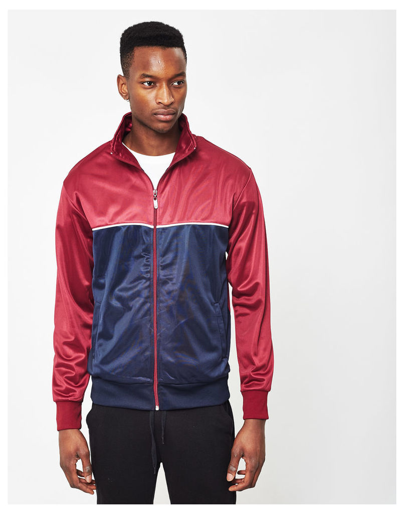 The Idle Man Track Top Burgundy & Navy