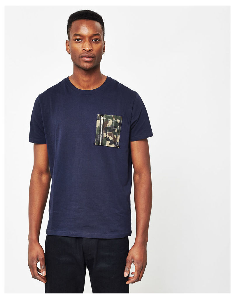 The Idle Man Crew Neck T-Shirt With Camo Pocket Navy