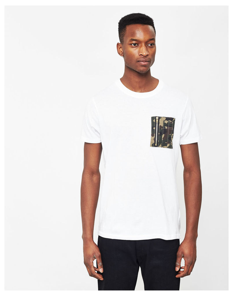 The Idle Man Crew Neck T-Shirt With Camo Pocket White