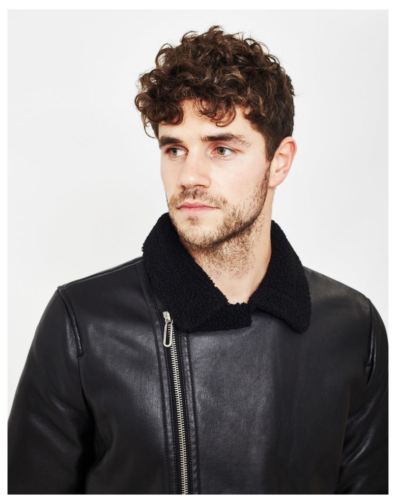 Only & Sons Lanford Faux Leather Jacket Black