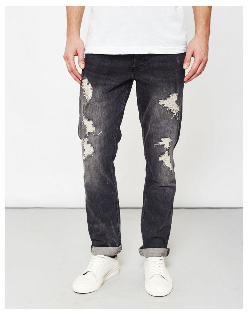 Only & Sons Weft Destroyed Dark Grey Denim Jeans