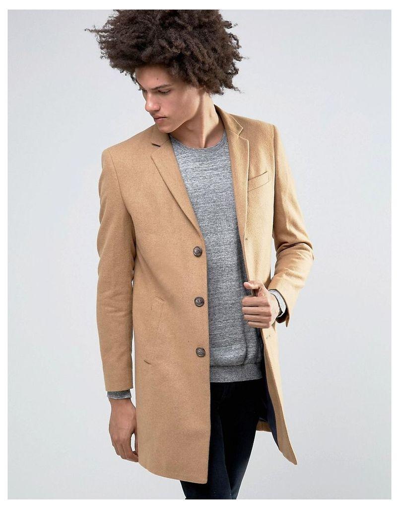Minimum Gleason Slim Wool Overcoat Contrast Reverse Lapel - Desert mel