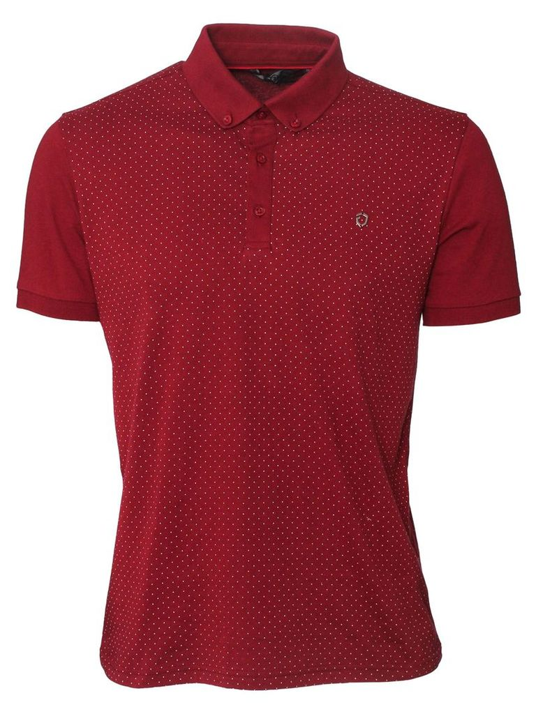 Fortune Mens Polka Dot Short Sleeved Burgundy Polo