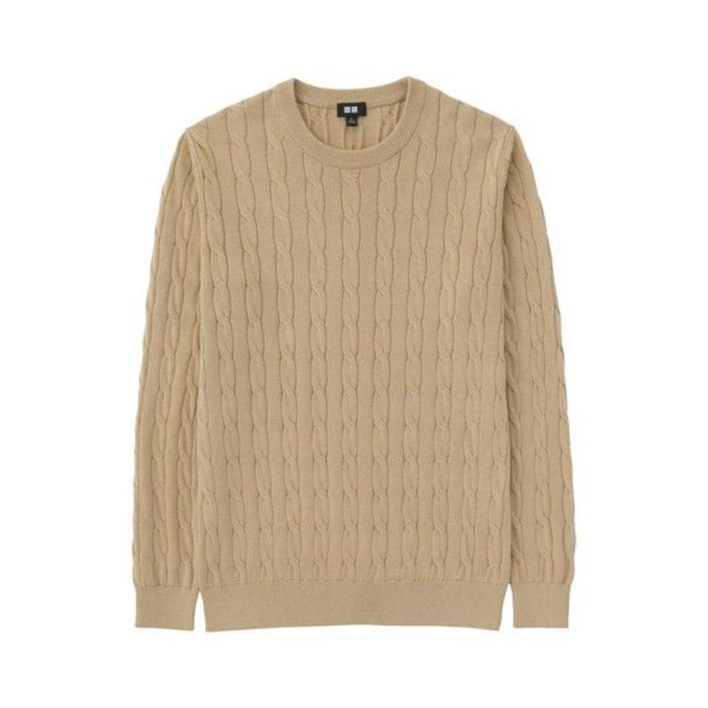 Uniqlo MEN Cotton Cashmere Cable Crew Neck Sweater BEIGE