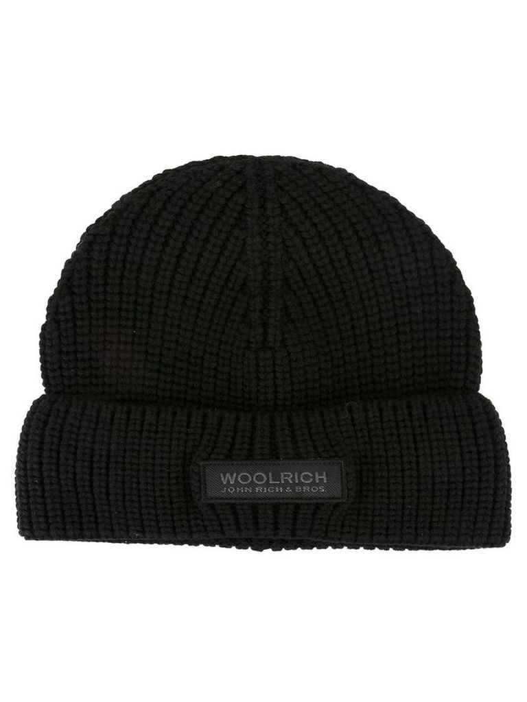 Woolrich knitted logo patch beanie, Men's, Black