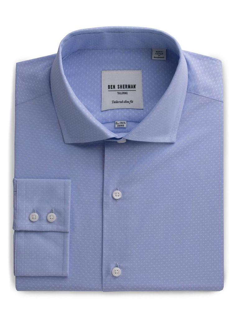 Slim Fit Dobby Shirt 15.5 Cashmere Blue