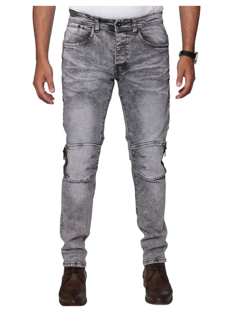Mens Grey Zip Knee Super Slim Stretch Jeans