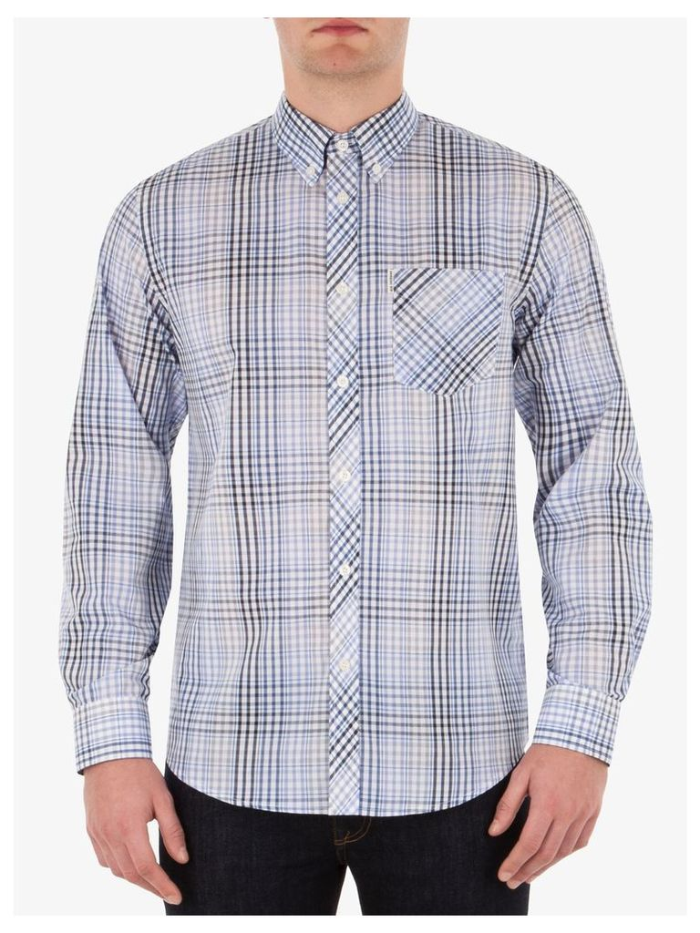 Long Sleeve Check Shirt XL White