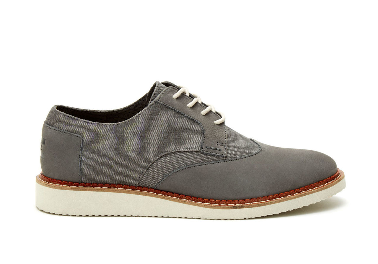 Dark Grey Leather Washed Canvas Men's Brogues
