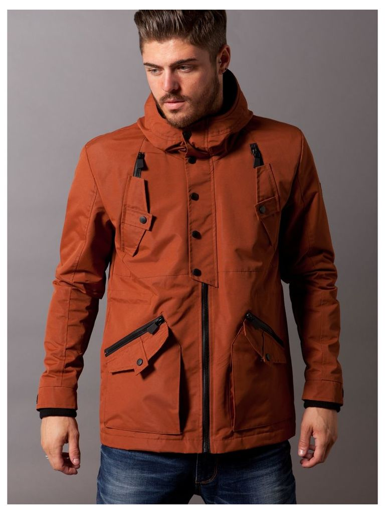 Mens Hoody Jacket With Cross Pockets Detail Style Evergreen Rust