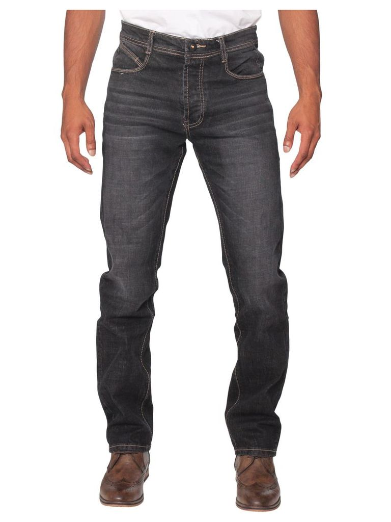 Mens Tapered Fit Stretch Black Wash Jeans
