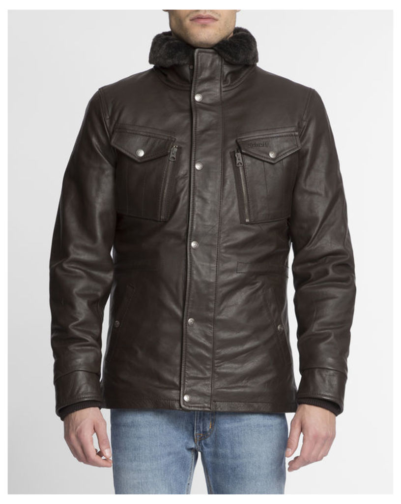 Brown Leather Collar Detachable Lining Coat