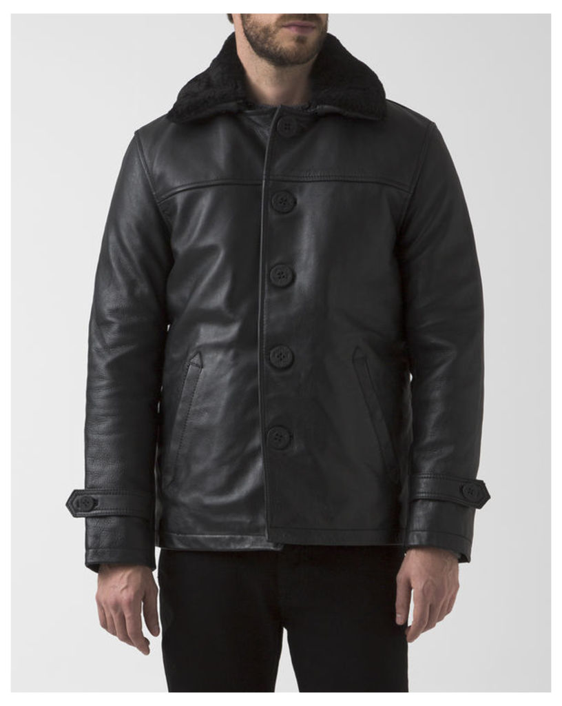 Black Leather Collared Removable Lining Button-Up Coat