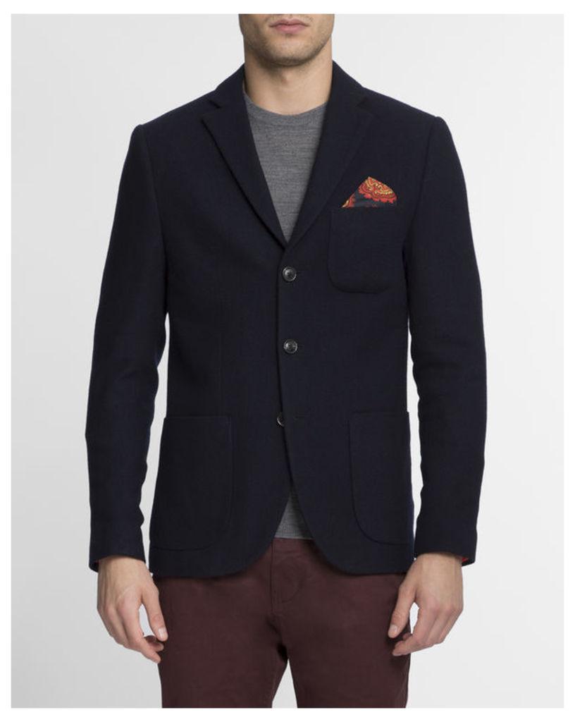 Navy Blue Patch Pocket Wool Jacket