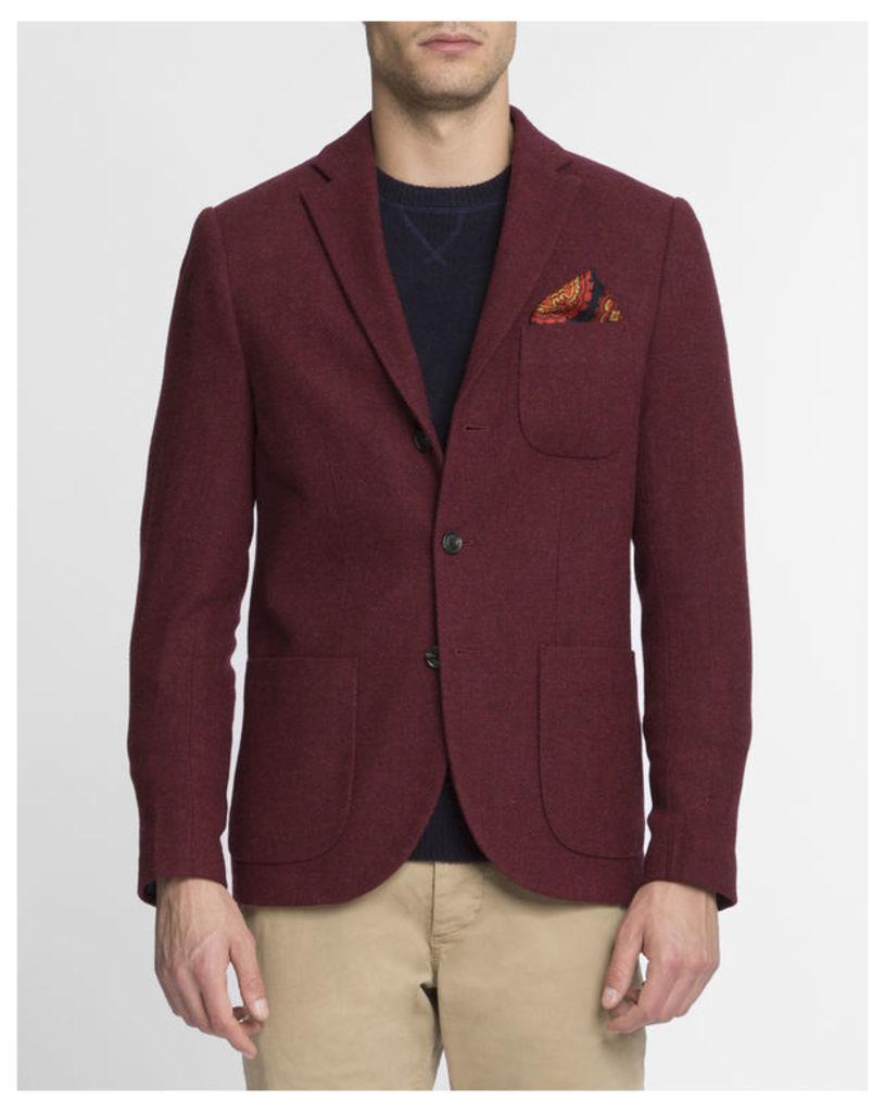 Burgundy Patch Pocket Wool Jacket