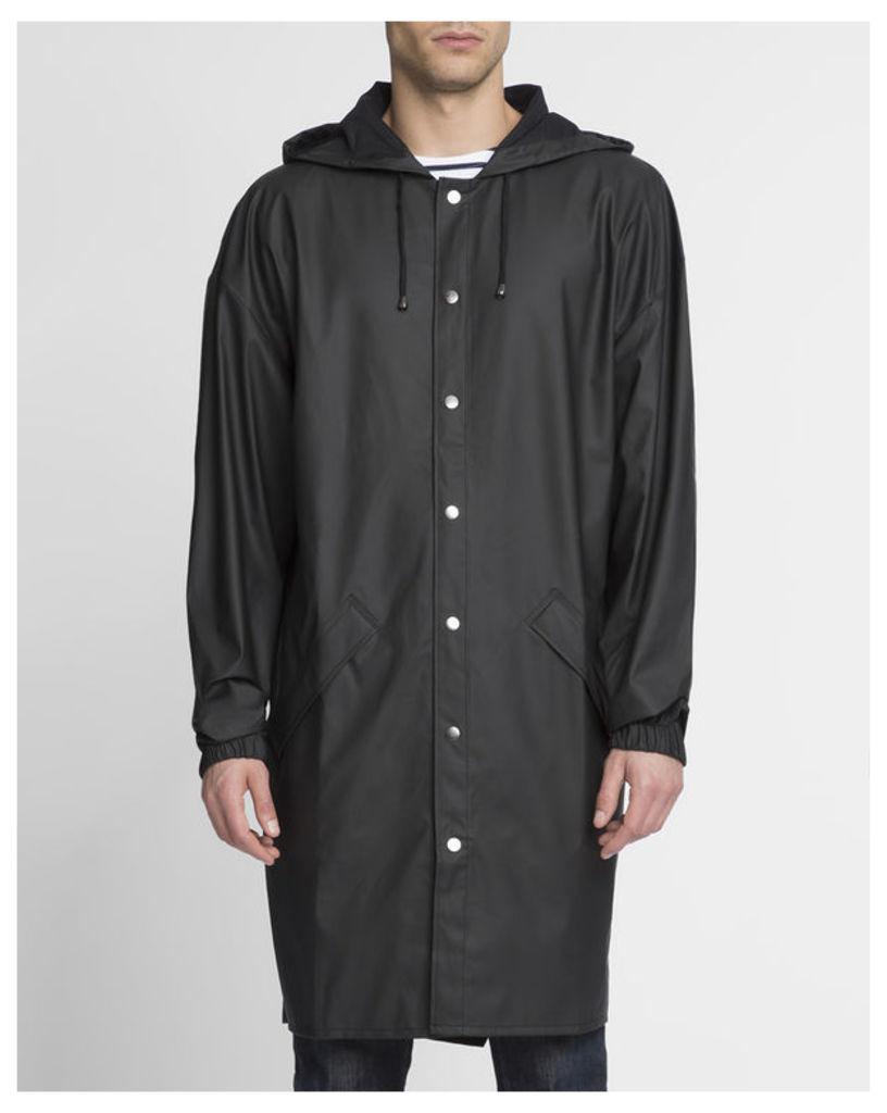 Matte Black Long Raincoat