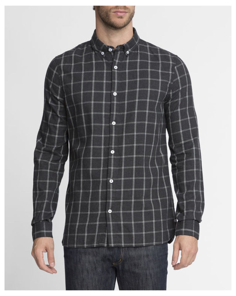 Anthracite Grey Grid Checked Shirt