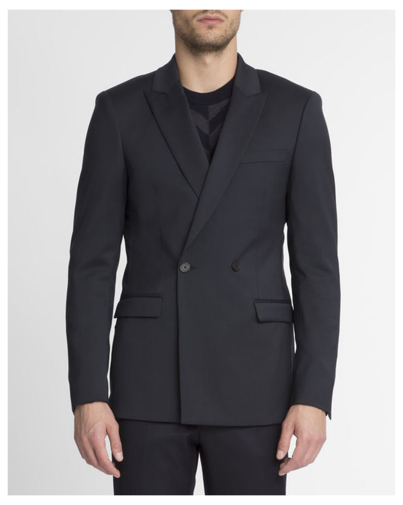 Navy Blue Double Breasted Slim-Fit Wool Jacket