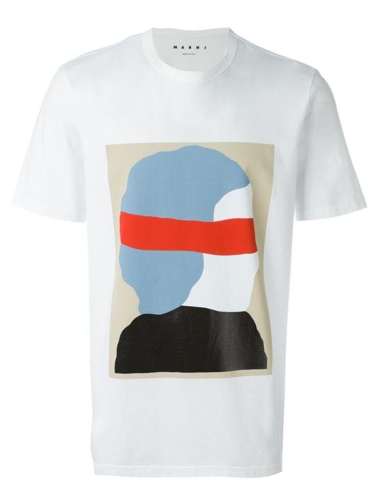 Marni silhouette print T-shirt, Men's, Size: 48, White