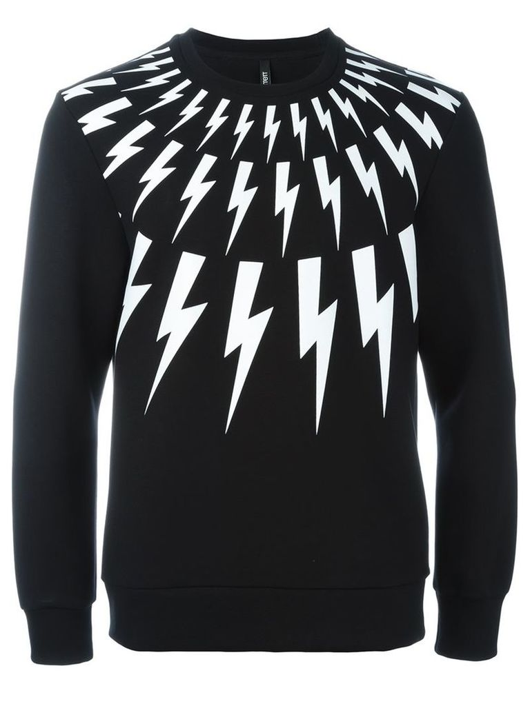 Neil Barrett lightning bolt print sweatshirt, Men's, Size: XL, Black