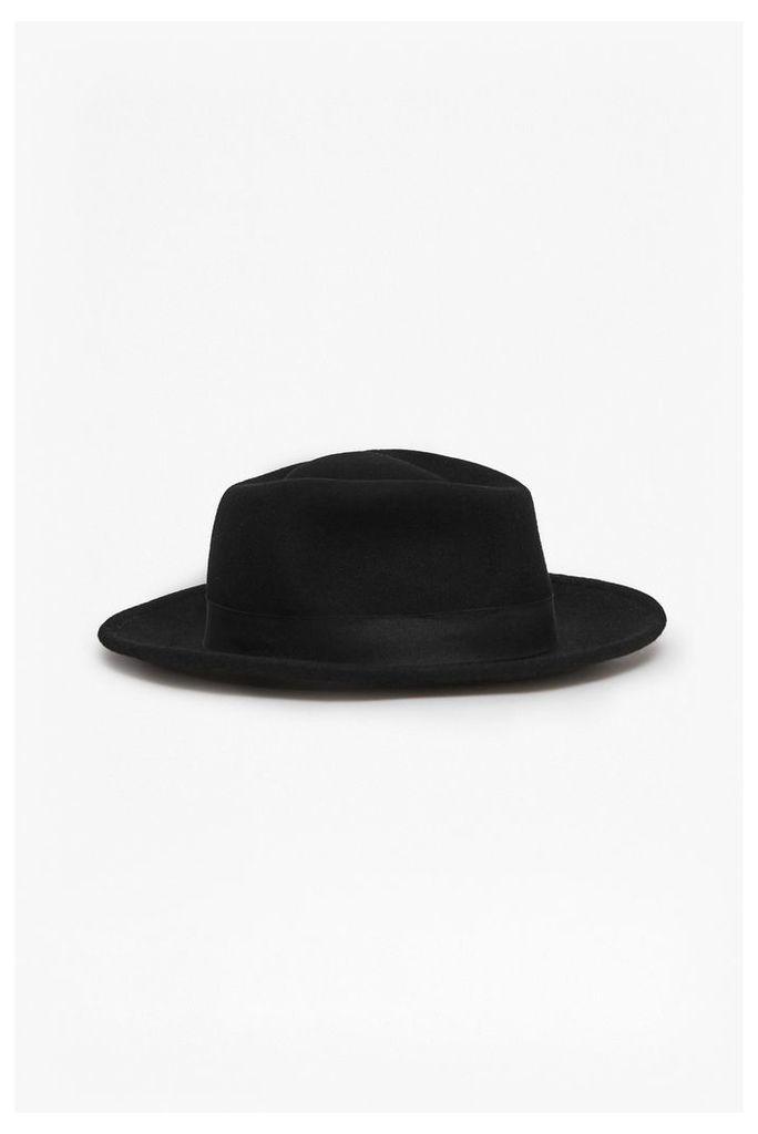 XANDER OVERSIZED PORKPIE HAT - Black
