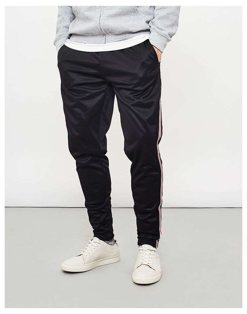 The Idle Man Contrast Stripe Joggers With Pockets Black