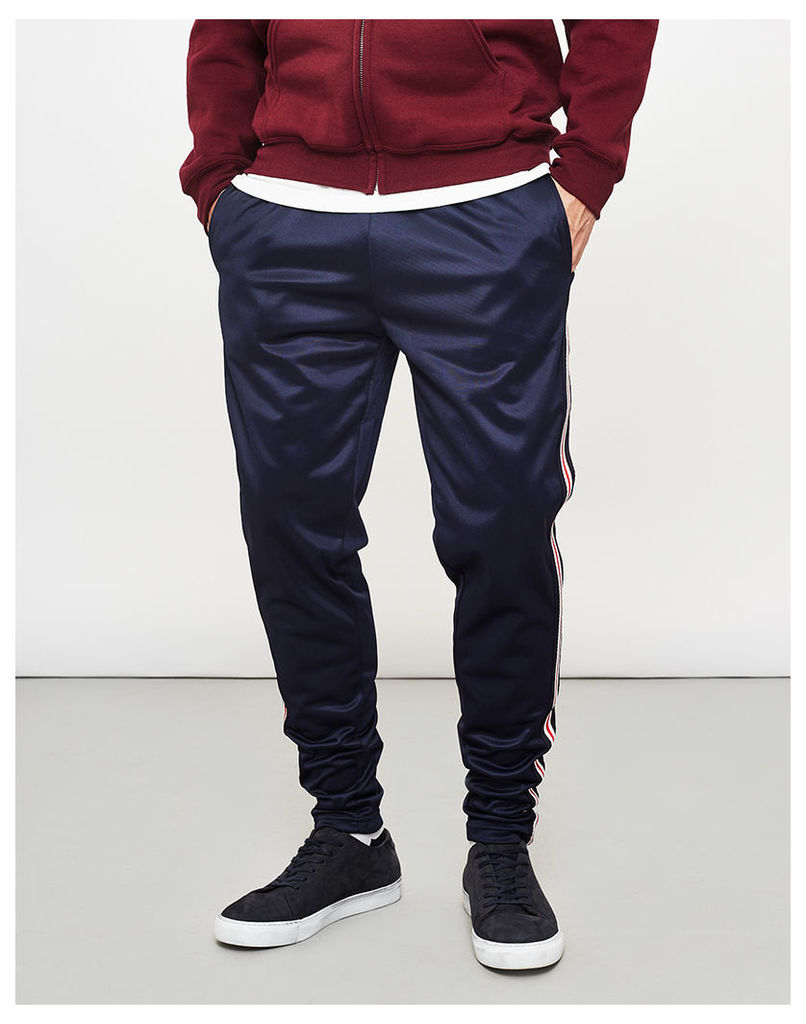 The Idle Man Contrast Stripe Joggers With Pockets Navy