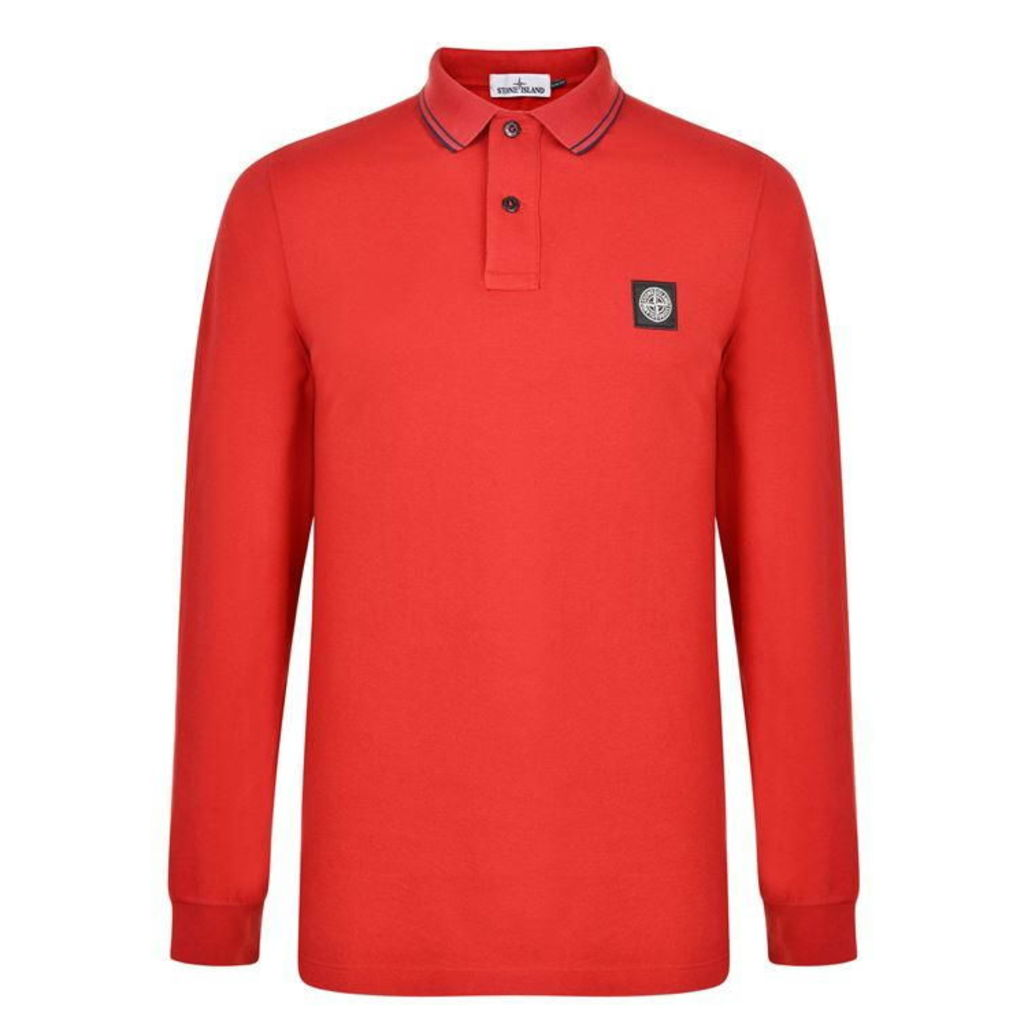 Patch Logo Long Sleeved Polo Shirt