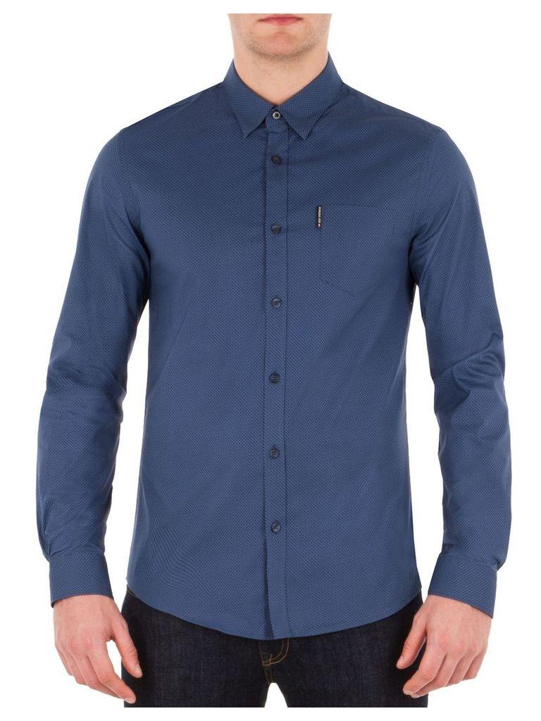 Long Sleeve Stretch Micro Print Shirt Med PL1 Petrol Blue