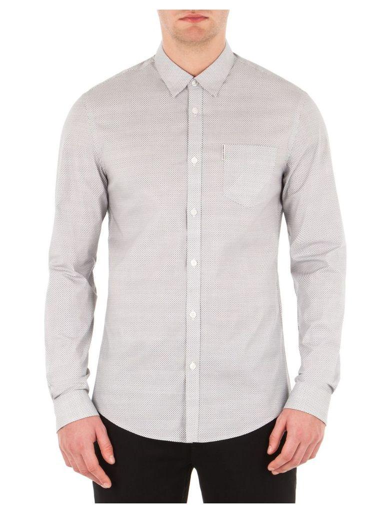 Long Sleeve Stretch Micro Print Shirt XS A47 Bright White